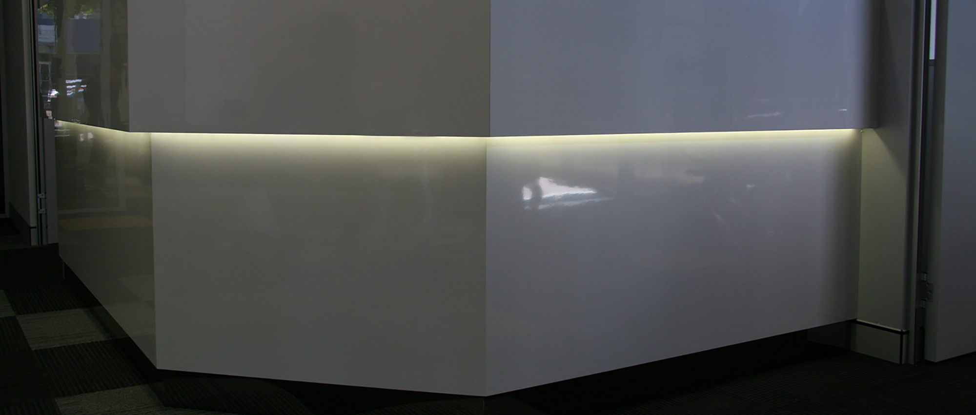 Office Plus Perth Reception Counter Lights Reception Custom Melamine Fit out Office fitout
